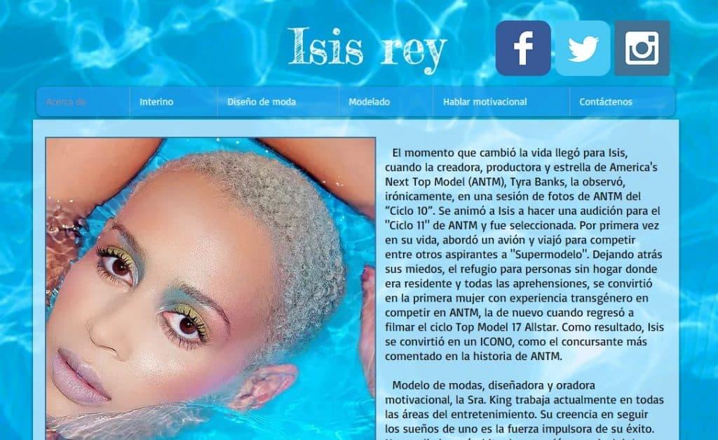 Isis King ha creado un sitio web de cartera en Wix para publicitar sus servicios de modelaje.
